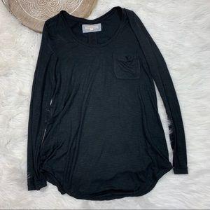 Pure + Good Anthro Black Loose Knit Pocket Tee